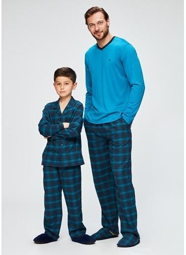 Dagi Erkek Çocuk Ekoseli Gömlek Uzun Kollu Pijama Takımı Lacivert